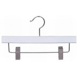 """Wooden Trouser and Skirt Hanger with Clips, White Finish with Chrome Hardware, 10"""""""