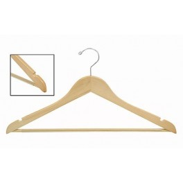Sloped Wooden Hanger with Notches and Grip Bar, Natural Finish with Chrome Hardware