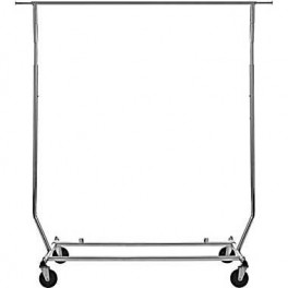 Garment Rack, Single Rod, Folding on Wheels