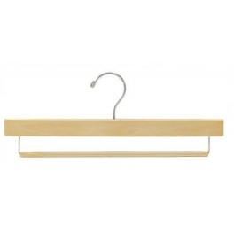 Wooden Trouser Hanger With Grip Bar Natural Finish With