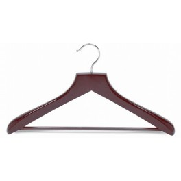 Heavy Duty Shaped Wooden Suit Hanger with Grip Bar, Walnut Finish with Chrome Hardware