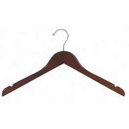 Sloped Wooden Dress Hanger with Notches, Walnut Finish with Chrome Hardware