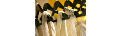 Walnut Finish Wooden Hangers with Chrome Hardware
