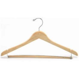 Shaped Wooden Coat Hanger with Notches and Locking Trouser Bar (Natural Finish with Chrome Hardware)