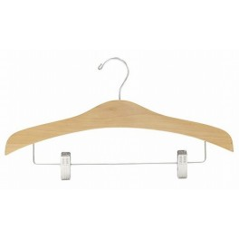 Sculpted Wooden Hanger with Trouser Clips, Natural Finish with Chrome Hardware