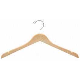 Sloped Wooden Dress Hanger with Notches, Natural Finish with Chrome Hardware
