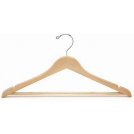 Sloped Wooden Hanger with Notches and Trouser Bar, Natural Finish with Chrome Hardware